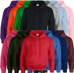 24 Units of Fruit Of The Loom Mens Hoodies Size LARGE - Mens Sweat Shirt