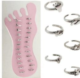 36 Units of Silvertone Adjustable Toe Rings With Assorted Designs - Rings