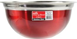 12 Units of 3 Quart Mixing Bowl Red - Stainless Steel Cookware