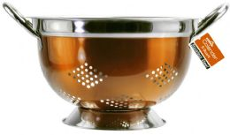 12 Units of 5 Quart Copper Stainless Steel Colander - Stainless Steel Cookware