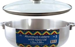 6 Units of Polished Aluminum Calderos With Glass Lids - Pots & Pans