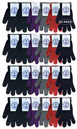24 Units of Yacht & Smith Mens Womens, Warm And Stretchy Winter Gloves (24 Pairs Assorted) - Knitted Stretch Gloves