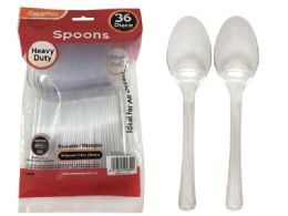 96 Units of 36 Pc Heavy Duty Transparent Plastic Spoons - Plastic Tableware