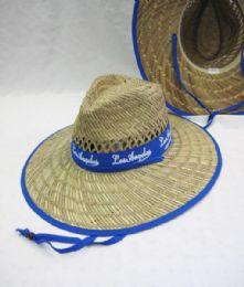 24 Units of Adult Large Brim Straw Sun Hat Blue Trim - Sun Hats
