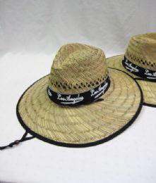 24 Units of Men's Straw Hat with Black Trim - Bucket Hats