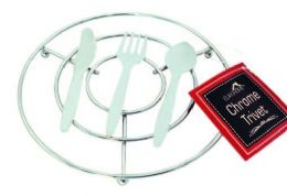 12 Units of Chrome Trivet With Fork And Spoon Design - Coasters & Trivets