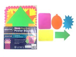 144 Units of 5 Piece Neon Pre Cut Poster Boards - Poster & Foam Boards