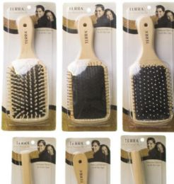 144 Units of Terra Single Wooden Hairbrush, Asssorted Styles - Hair Brushes & Combs