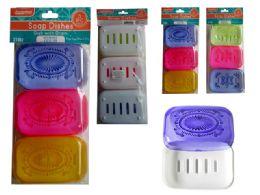 48 Units of 3 Piece Square Plastic Soap Dish - Soap Dishes & Soap Dispensers