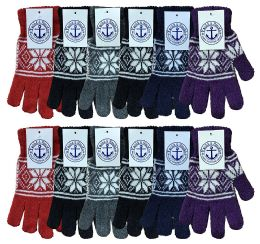 12 Units of Yacht & Smith Womens Warm And Stretchy Snow Flake Print Winter Gloves - Knitted Stretch Gloves