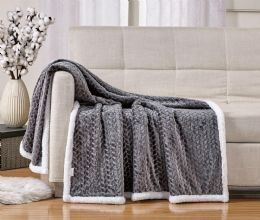 10 Units of BRAIDED 50 X 60 SHERPA THROW IN GREY - Fleece & Sherpa Blankets