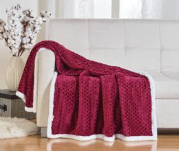 10 Units of BRAIDED 50 X 60 SHERPA THROW IN BURGUNDY - Fleece & Sherpa Blankets
