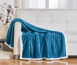 10 Units of BRAIDED 50 X 60 SHERPA THROW IN TEAL - Fleece & Sherpa Blankets