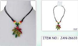 96 Units of Wholesale Rasta Color Necklace with Marijuana Leaf - Necklace