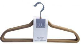 12 Units of Set Of Ten Non Slip Velvet Hangers Brown - Hangers