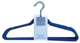 12 Units of Set Of Ten Non Slip Velvet Hangers Navy - Hangers