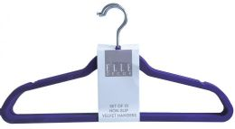 12 Units of Set Of Ten Non Slip Velvet Hangers Purple - Hangers