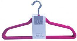 12 Units of Set Of Ten Non Slip Velvet Hangers Fuschia - Hangers