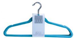 12 Units of Set Of Ten Non Slip Velvet Hangers Blue - Hangers