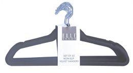 6 Units of Set Of 25 Non Slip Velvet Hangers Black - Hangers