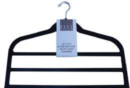 12 Units of Four Tier Non Slip Velvet Pant Hanger Black - Hangers