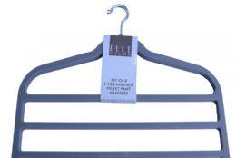 12 Units of Four Tier Non Slip Velvet Pant Hanger Grey - Hangers