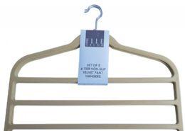 12 Units of Four Tier Non Slip Velvet Pant Hanger Beige - Hangers