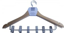 12 Units of Natural Wood Hangers With Clips - Hangers