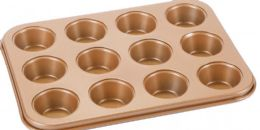 12 Units of Non Stick Mini Cupcake Pan Copper Finish - Frying Pans and Baking Pans