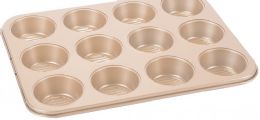 12 Units of Non Stick Cupcake Pan Copper Finish - Frying Pans and Baking Pans