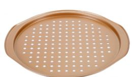 12 Units of Non Stick Crispy Pizza Pan Copper Finish - Frying Pans and Baking Pans