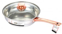 6 Units of Frying Pan Stainless Steel Rose Gold - Pots & Pans