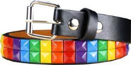 36 Units of Kids Studded Rainbow Belts - Kid Belts