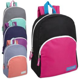 "24 Units of 15 Inch Promo Girls Backpack - Assorted Colors - Backpacks 15"" or Less"