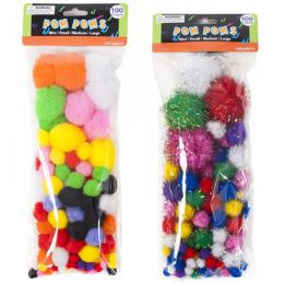 72 Units of Craft Pom-poms Color & Glitter 2ast 3 Size Poms Per 100pc Pk - Pom Poms and Feathers