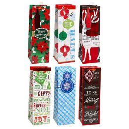 72 Units of 14 Inch Christmas Bottle Bag With Ribbon Handle - Christmas Gift Bags and Boxes