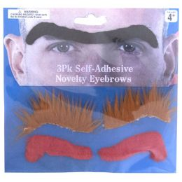 96 Units of 3 Assorted Novelty Eyebrows - Novelty & Party Sunglasses