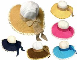 24 Units of Lady Summer Hat With Ribbon - Sun Hats