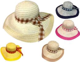 24 Units of Lady Summer Hat With Plaid Ribbon - Sun Hats