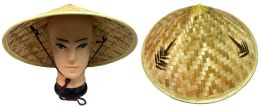 24 Units of Bamboo Cone Shaped Straw Hat with Strap - Sun Hats
