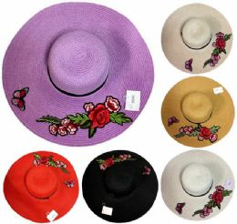 12 Units of Lady Sun Hat Flower with Butterfly - Sun Hats