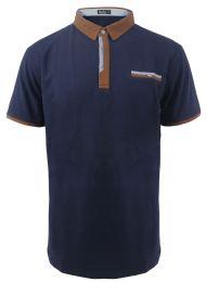 12 Units of LeeHanTon Mens Short Sleeve PoloT Shirt In Navy - Mens T-Shirts