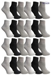 24 Units of Yacht & Smith Mens & Womens Ankle Wholesale Bulk Pack Athletic Sports Socks, by SOCKS'NBULK (Womens 9-11 (Shoe size 5-10), 24 Pairs Mix) - Womens Ankle Sock