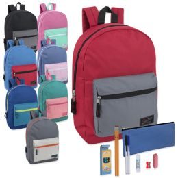 24 Units of Preassembled 17 Inch Color Block Backpack & 12 Piece School Supply Kit - 8 Colors - School Supply Kits