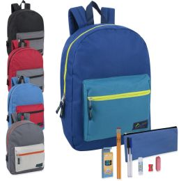 24 Units of Preassembled 17 Inch Color Block Backpack & 12 Piece School Supply Kit - 5 Colors - School Supply Kits