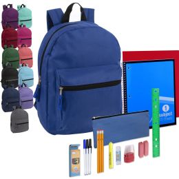 24 Units of Preassembled 15 Inch Basic Backpack & 20 Piece School Supply Kit - 12 Color - School Supply Kits