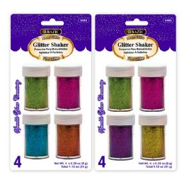 72 Units of BAZIC 8g / 0.28 Oz. 4 Neon Color Glitter Shaker - Craft Glue & Glitter