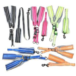 """24 Units of Nylon Padded Dog Harness with 48"""" Leash [Large] - Pet Collars and Leashes"""