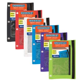 48 Units of Bazic Double Zipper 3-Ring Pencil Pouch W/ Mesh Window - Pencil Boxes & Pouches