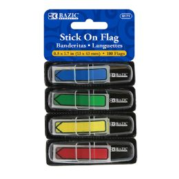 """48 Units of Bazic 25 Ct. 0.5"""" X 1.7"""" Neon Color Printed Arrow Flags W/ Dispenser (4/pack) - Sticky Note & Notepads"""